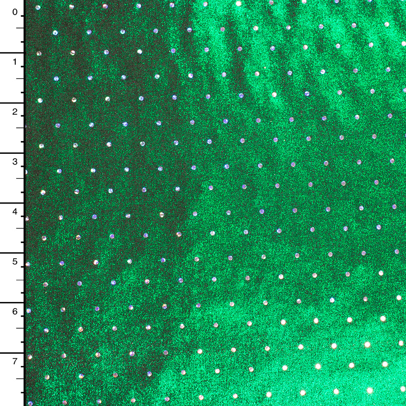Silver Holographic Sequins on Green Metallic Stretch Knit
