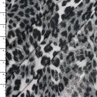 Metallic Silver on Grey Leopard Print Lycra