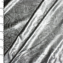 Silver on Silver Geometric Shapes Lycra Lame