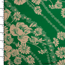 Retro Ivory Flowers on Bright Green Lightweigh Poly/Lycra