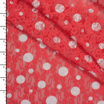 White on Coral Polka Dot Floral Stretch Lace