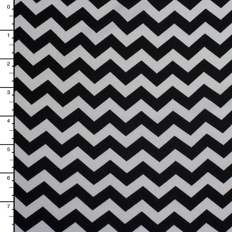 Black and White Chevron 4-Way Stretch Jersey Knit