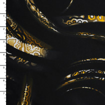 Tribal Pattern Swirls on Black Nylon Lycra