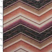 Tan, Peach, Mauve, and Purple Large Chevron Burnout Jersey Knit