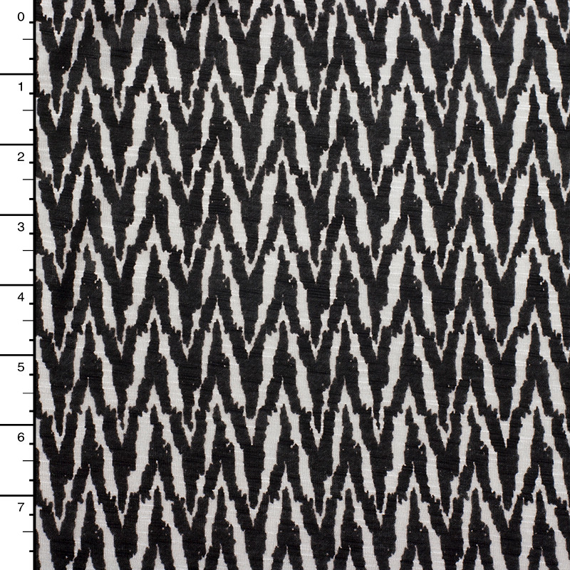 Black and Offwhite Brushstroke Chevron Lightweight Rayon Jersey Knit