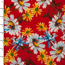 White and Yellow Daisy Print on Red Stretch ITY Knit