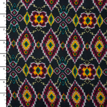 Charcoal, Plum, and Yellow Southwestern Floral Rayon Challis Print