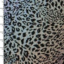 Black on Silver Leopard Flocked Holographic 4-way Stretch Mystique