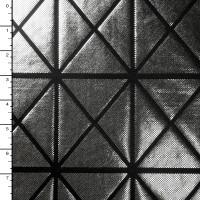 Silver on Black Geometric Metallic 4-way Stretch Nylon/Lycra