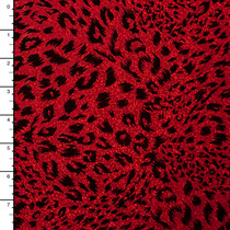 Black on Red Leopard Flocked Holographic 4-way Stretch Mystique