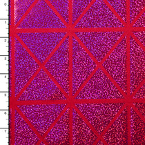 Hot Pink on Red Geometric Holographic 4-way Stretch Nylon/Lycra