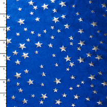 Silver Stars on Blue Mystique 4-way Stretch Nylon/Lycra