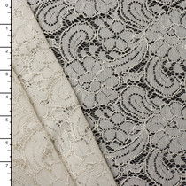 Floral Ivory Reimbroidered Lace #15166
