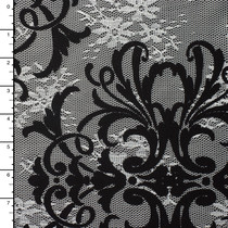 Black  Flocked Scrollwork on White Floral Lace