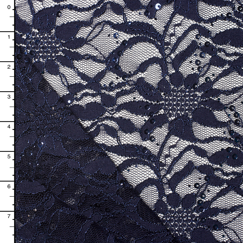 Navy Sequined Floral Lace