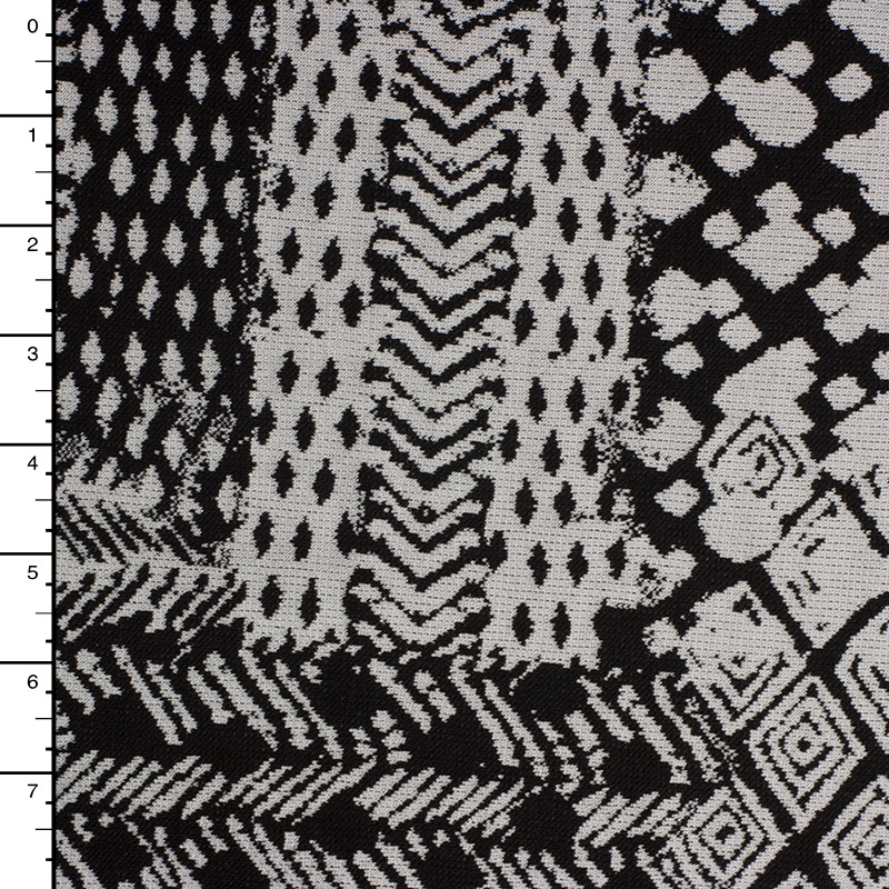 Black and White Tribal Style Patches Double Knit