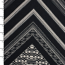 Black and Ivory Chevron Pattern Designer Nylon/Lycra #15283