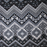 Black and White Ornate Chevron Pattern Stretch Jersey Knit