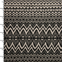 Black and Ivory Pattern Stripe Stretch Jersey #15319