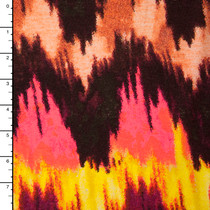 Brown, Coral, and Yellow Ikat Print Jersey Knit #15305