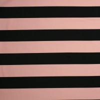 Heavyweight Blush and Black Striped 4-Way Stretch Poly/Rayon/Lycra Knit