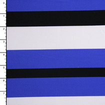 Blue, Black, and White Striped 4-Way Stretch Poly/Rayon/Lycra Knit
