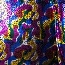 Multi Color Blotch Scale Pattern Metallic Print Poly Knit