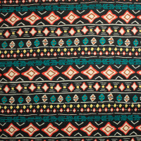 Orange, Teal, Yellow, and Black Tribal Bohemian Stripe Sweater Knit #15382