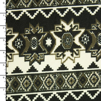 Black, Charcoal, and Offwhite Bohemian Tribal Stripe Sweater Knit #15386