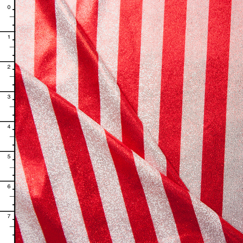 Red and White Striped 4-way Stretch Metallic Spandex Fabric
