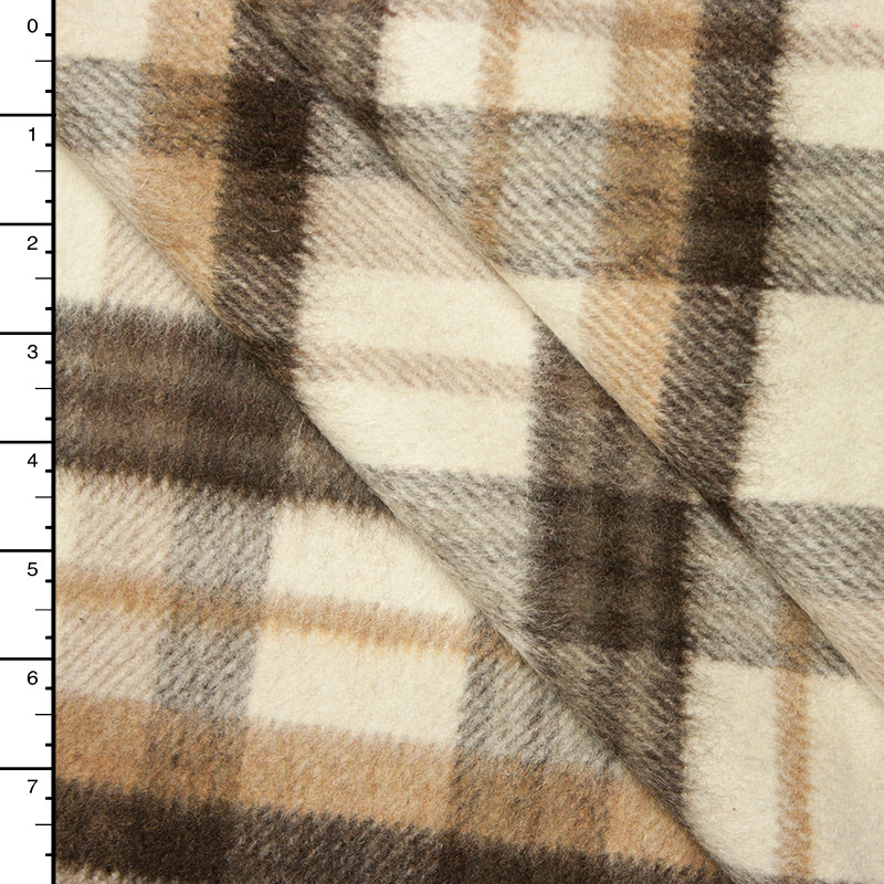 Ivory, Tan, and Brown, Plaid Wool Coating #15393