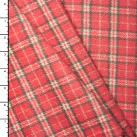 Pink, Grey, and Ivory Plaid Wool Coating