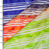 Ombre Lime, Orange, Blue and White Stripe Rayon Jersey Knit