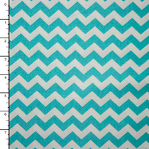 Aqua and White Chevron Lightweight Cotton Poplin