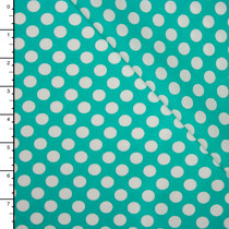 Aqua and White Dots Lightweight Cotton Poplin