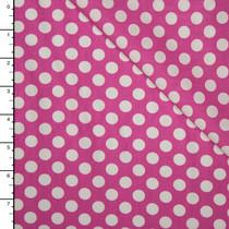 Fuschia and White Dots Lightweight Cotton Poplin