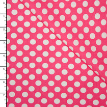 Hot Pink and White Dots Lightweight Cotton Poplin