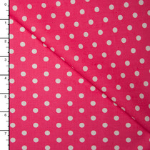 White on Hot Pink Polka Dots Lightweight Cotton Poplin