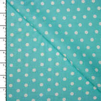 White on Aqua Polka Dots Lightweight Cotton Poplin