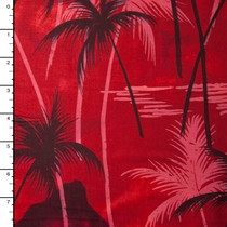 Black and Red Palms and Mountains Hawaiian Print