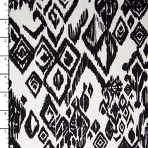 Black Tribal Pattern on White 4-way Stretch Cotton/Lycra