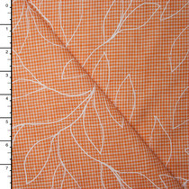 White Leaves on Orange Gingham Linen