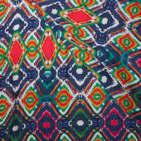 Green, Red, Navy, and White Vibrant Diamond Pattern Rayon Challis
