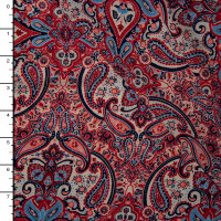 Red, Ivory, and Periwinkle Paisley Print Rayon Challis