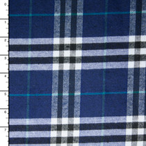 Navy, White, Black, and Teal Plaid Flannel