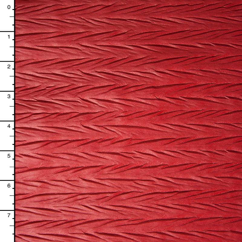 Matte Red Zig-Zag Crushed Pattern Lycra Lame