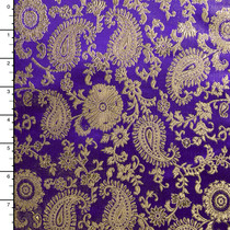 Purple and Gold Paisley Designer Brocade