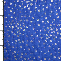 Metallic Silver and Royal Blue Dotted Brocade