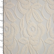 Ivory Large Rose Pattern Cotton Lace