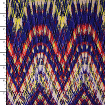 Red, Purple, and Yellow Tribal Kaleidoscope Stretch Jersey Knit Print